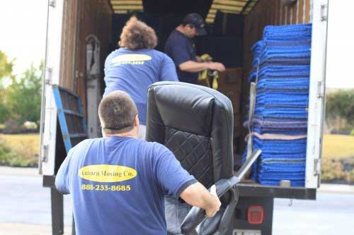 roseville commercial movers loading furniture on moving company truck