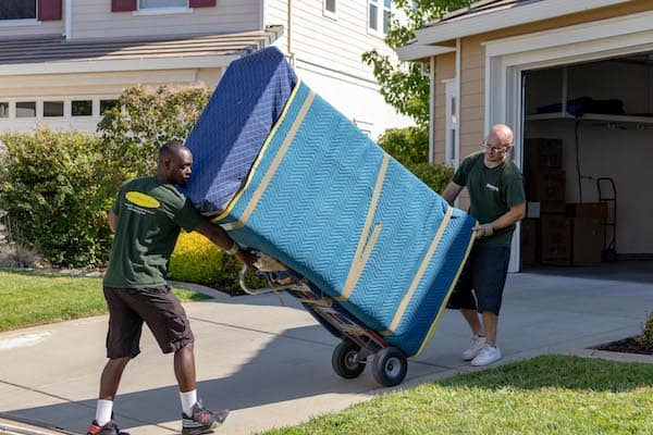 roseville movers with furniture on dolly